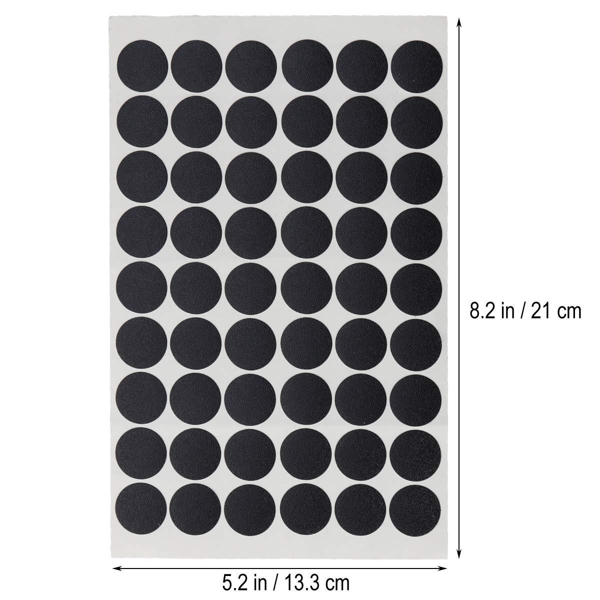 Yardwe 3Pcs Sheet PVC screw hole cover caps self-adhesive screw hole sticker for home office furniture 54pcs//sheet Polished Black