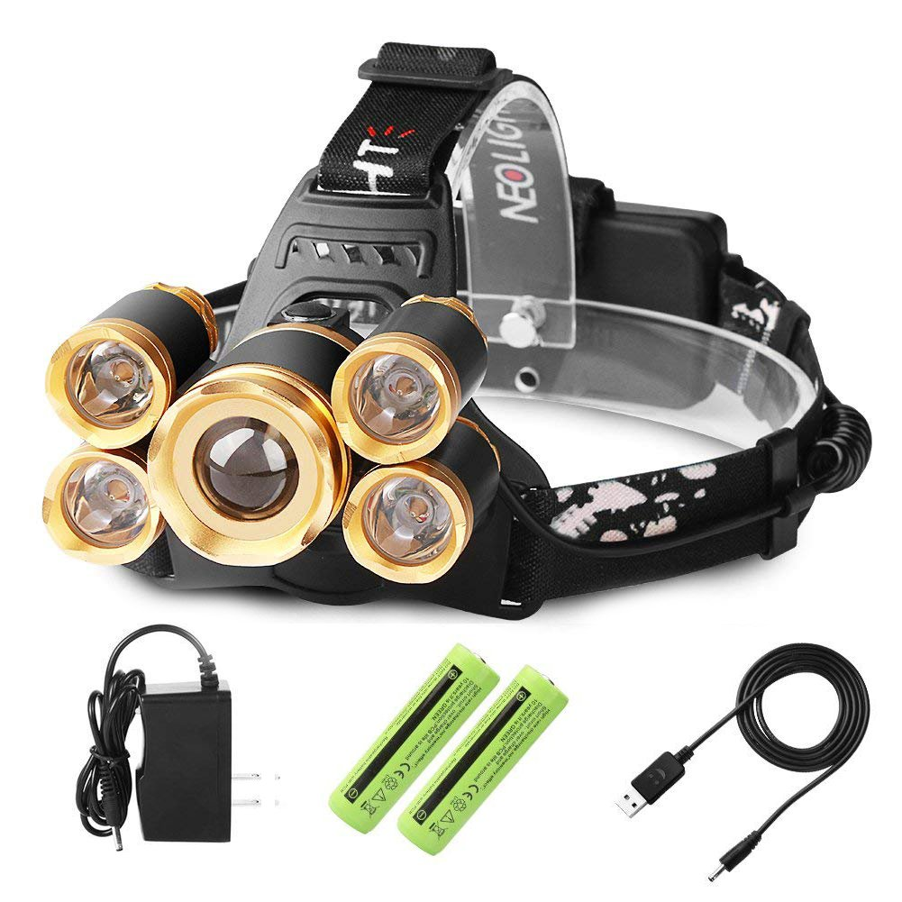 Laluztop USB Rechargeable LED Headlamp, Super Bright Waterproof Headlight, Zoomable 4 Modes Flashlight for Outdoor Camping Hiking Cycling Fishing Hunting Dog Walking Reading (White Light) (Gold)