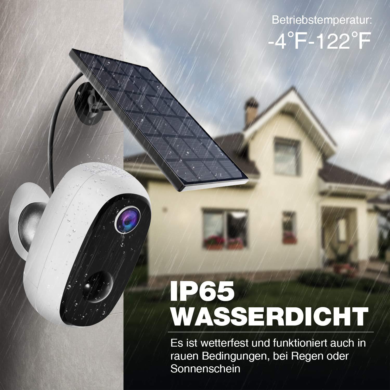 Überwachungskamera mit Solarpanel, 1080P Akku Kabellos Outdoor WLAN Kamera mit PIR-Bewegungserkennung, 2-Wege-Audio, Nachtsicht, integrierter SD-Steckplatz, IP65 wasserdichte