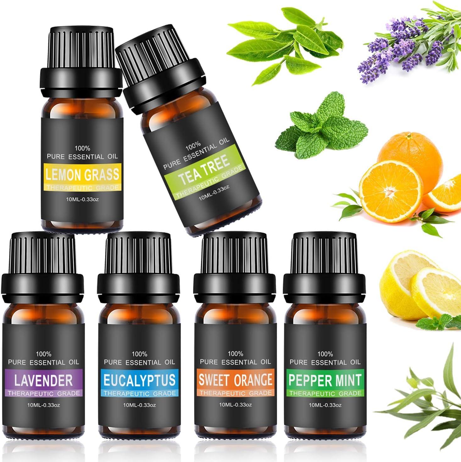 Set de aceites esenciales,100% Natural Puro Aromaterapia Aceite Aromático, Set de Aceites Esenciales para Humidificador y Difusor Aroma (6 Flavor)