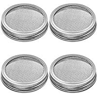 2 Pcs Mason Jar Sprouting Kit Including Mason Jars,Lids,Sprouting Stands for Regular/Wide Mouth Mason Jar (Wide Mouth-4pcs lids,Silver)