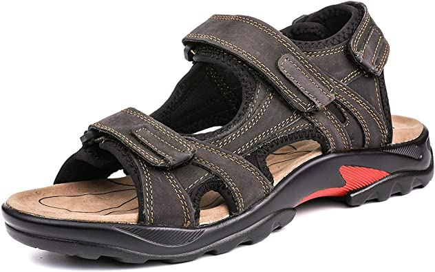 Mens Brown Leather Touch Fastening Sandals Summer Casual Stylish Fashion Beach