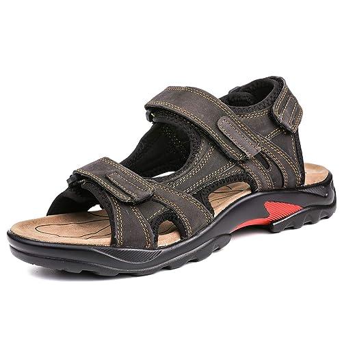 b28ea95ffacb7e gracosy Sandales de Sports Hommes, Chaussures de Randonnée Été en Cuir à  Scratch Talons Plats