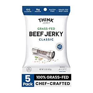 Classic Beef Jerky by Think Jerky — Delicious Chef Crafted Jerky — Grass-Fed Beef Free of Gluten, Antibiotics and Nitrates — Healthy Protein Snack Low in Calories, Fat and Salt — 1.5 Ounce (5 Pack)
