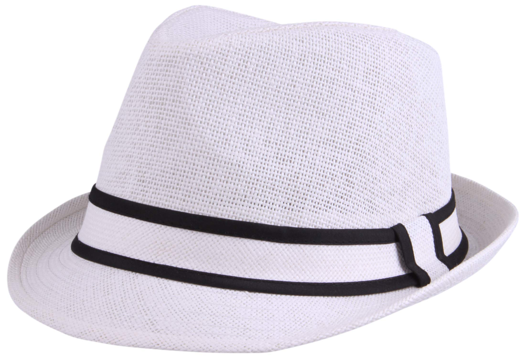 Enimay Unisex Vintage Fedora Hat Classic Timeless Light Weight 2120 - White Size S/M