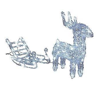 Weihnachtsbeleuchtung Schlitten.3d Led Leuchtfigur Rentier Mit Schlitten Weihnachtsbeleuchtung