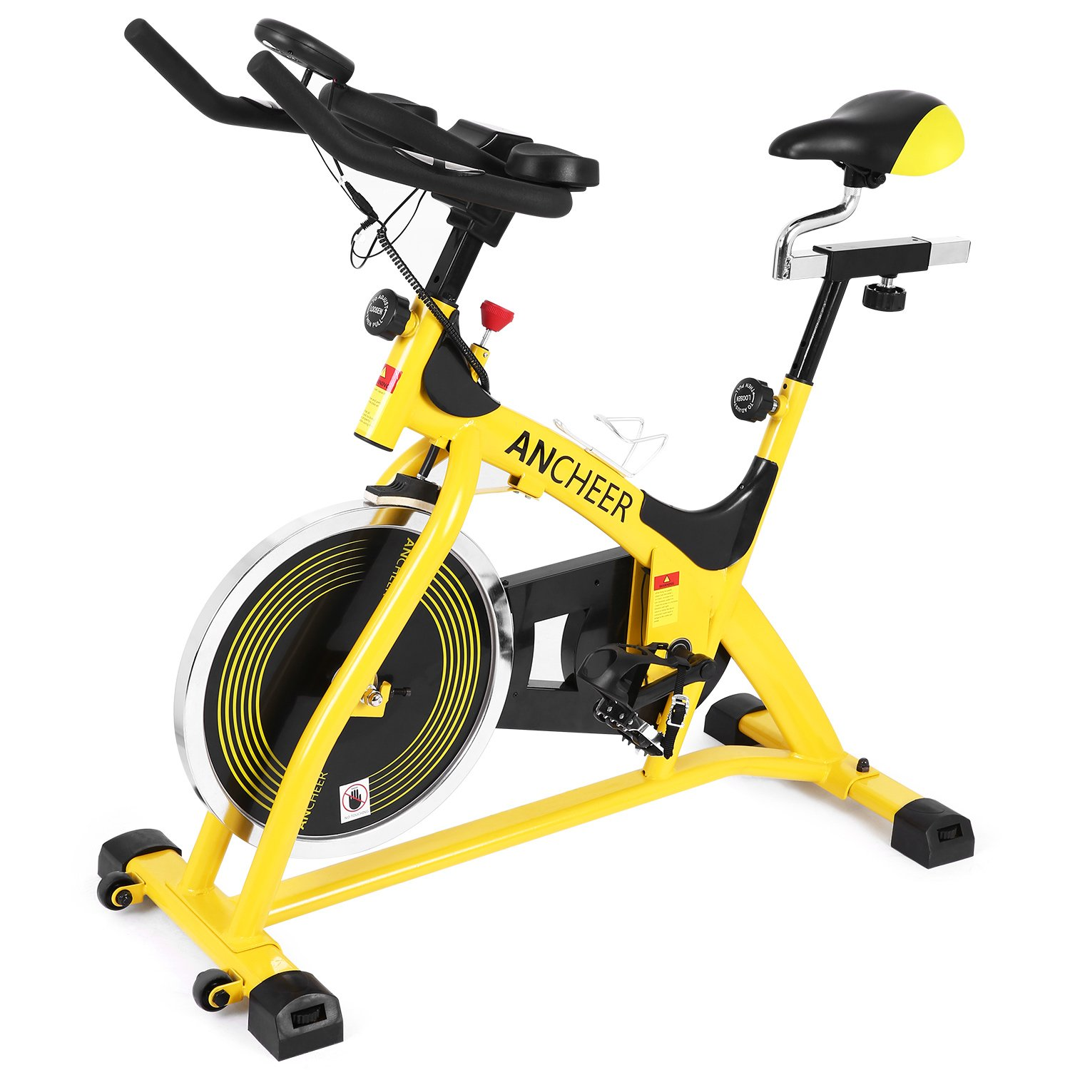 ANCHEER Stationary Bike, 40 LBS Flywheel Belt Drive Indoor Cycling Exercise Bike with Pulse, Elbow Tray (Model: ANCHEER-A5001) (Yellow)