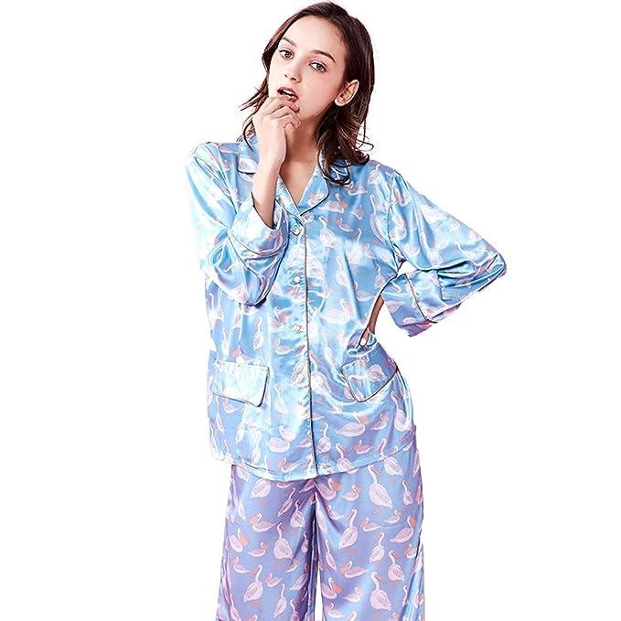 Pijamas Sueltas De Seda Para Mujer Pijamas Cómodos Para Servicio Doméstico Dulce Pijamas De Manga Larga