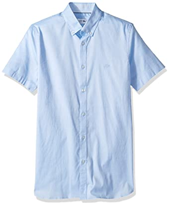 3083d0fd32 Lacoste Men's S/S Solid Stretch Pinpoint Collar Slim Fit Woven Shirt ...