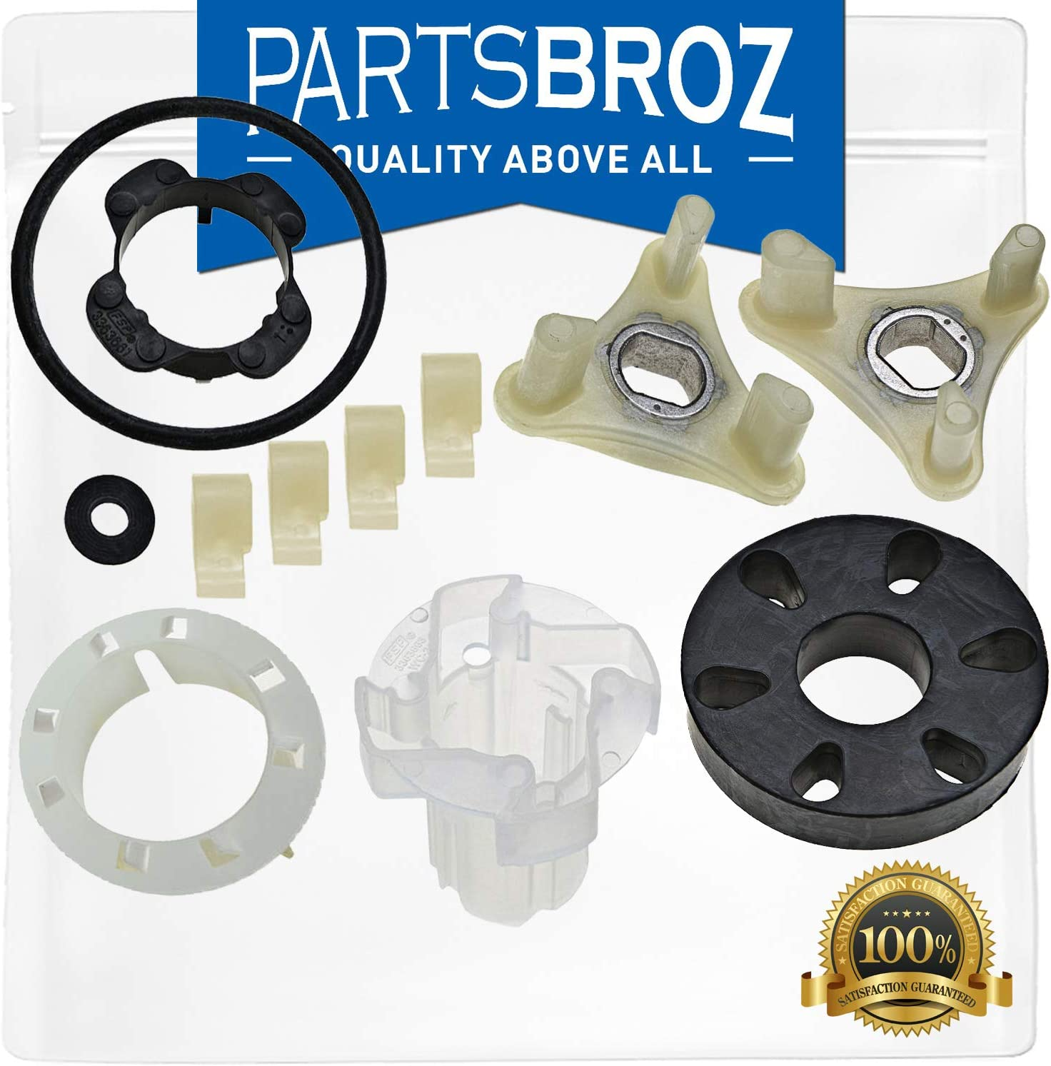 285811 Agitator Repair Kit & 285753A Direct Drive Motor Coupling by PartsBroz - Compatible with Whirlpool Washers - Replaces AP3138838, 2744, 285746, 285811VP, 3347410, 3351001, 3363663, 3948431