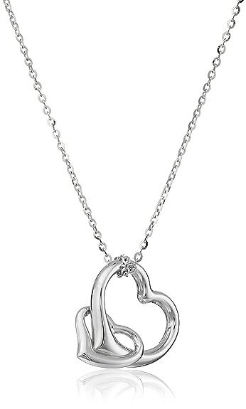 Amazon 14k white gold double heart necklace 16 pendant 14k white gold double heart necklace 16quot mozeypictures Images