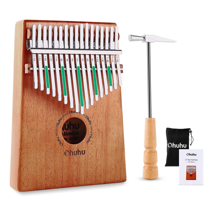 Kalimba 17 Key Thumb Piano, Ohuhu Finger Piano 17 Key Kalimbas Mbira Mahogany Body African Instuments