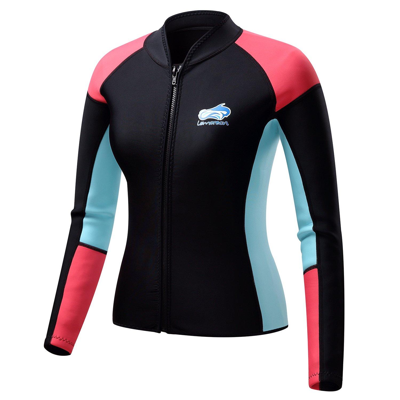 Lemorecn Women's 1.5mm Wetsuits Jacket Long Sleeve Neoprene Wetsuits Top (2047black4)