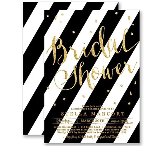 Amazon com: Bridal Shower Invitations Black & White Striped Gold