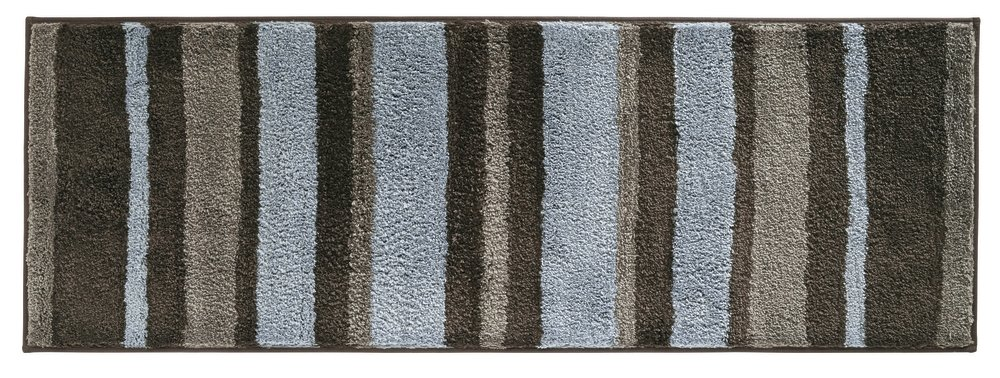 mDesign Soft Microfiber Polyester Non-Slip Extra-Long Spa Mat/Runner, Plush Water Absorbent, Striped Design - for Bathroom Vanity, Bathtub/Shower, Machine Washable - 34'' x 21'' - Mocha Brown/Gray