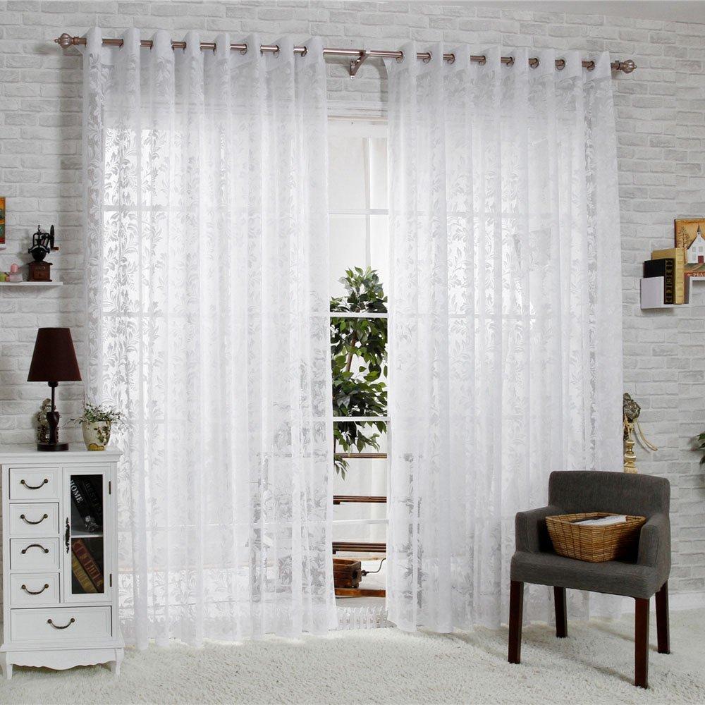R.LANG Solid Grommet Top Fashions sheer Jacquard Curtain 1 Pair Bleach White 46W X 54 L Ltd