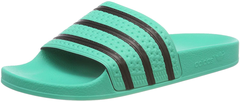Grün (Hi-res Grün S18 Core schwarz Hi-res Grün S18) adidas Herren Adilette Pantoffeln, schwarz Orange, EU