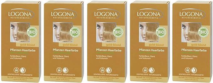 Logona - Tinte para el cabello en polvo, color rubio dorado, 5 x 100 g