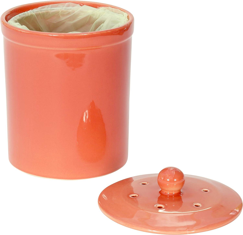 Naranja/marrón rojo de cerámica cubo para Compost y 150 x 6 L Biobags all-Green - cubo de basura para abono Melbury cocina para guardar comida reciclado de residuos: Amazon.es: Hogar