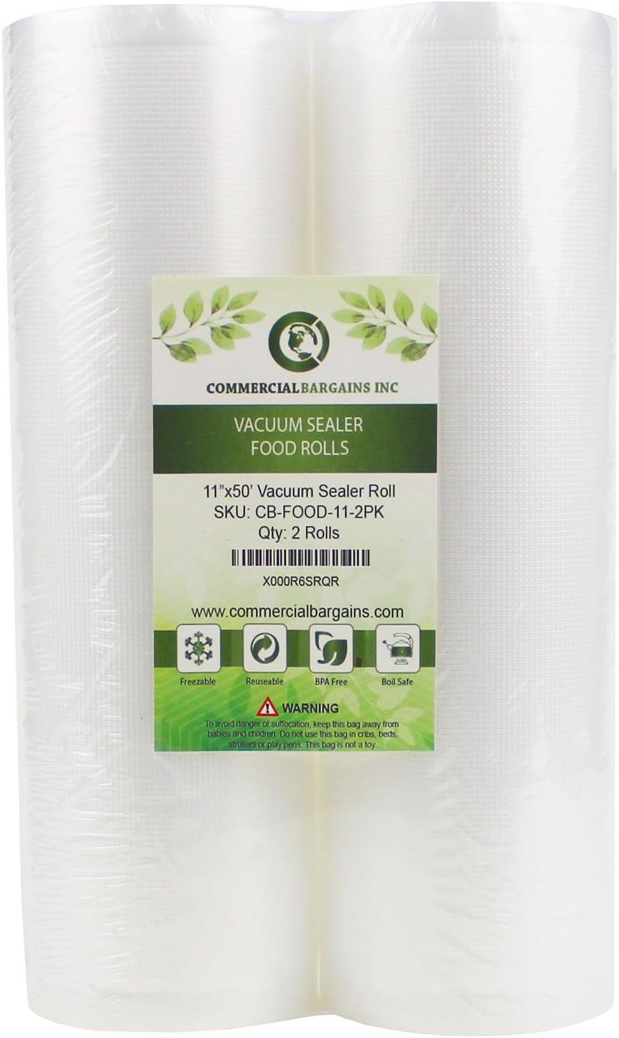 "Commercial Bargains 2 Jumbo 11"" x 50' Commercial Vacuum Sealer Saver Bags Sous Vide Food Storage"