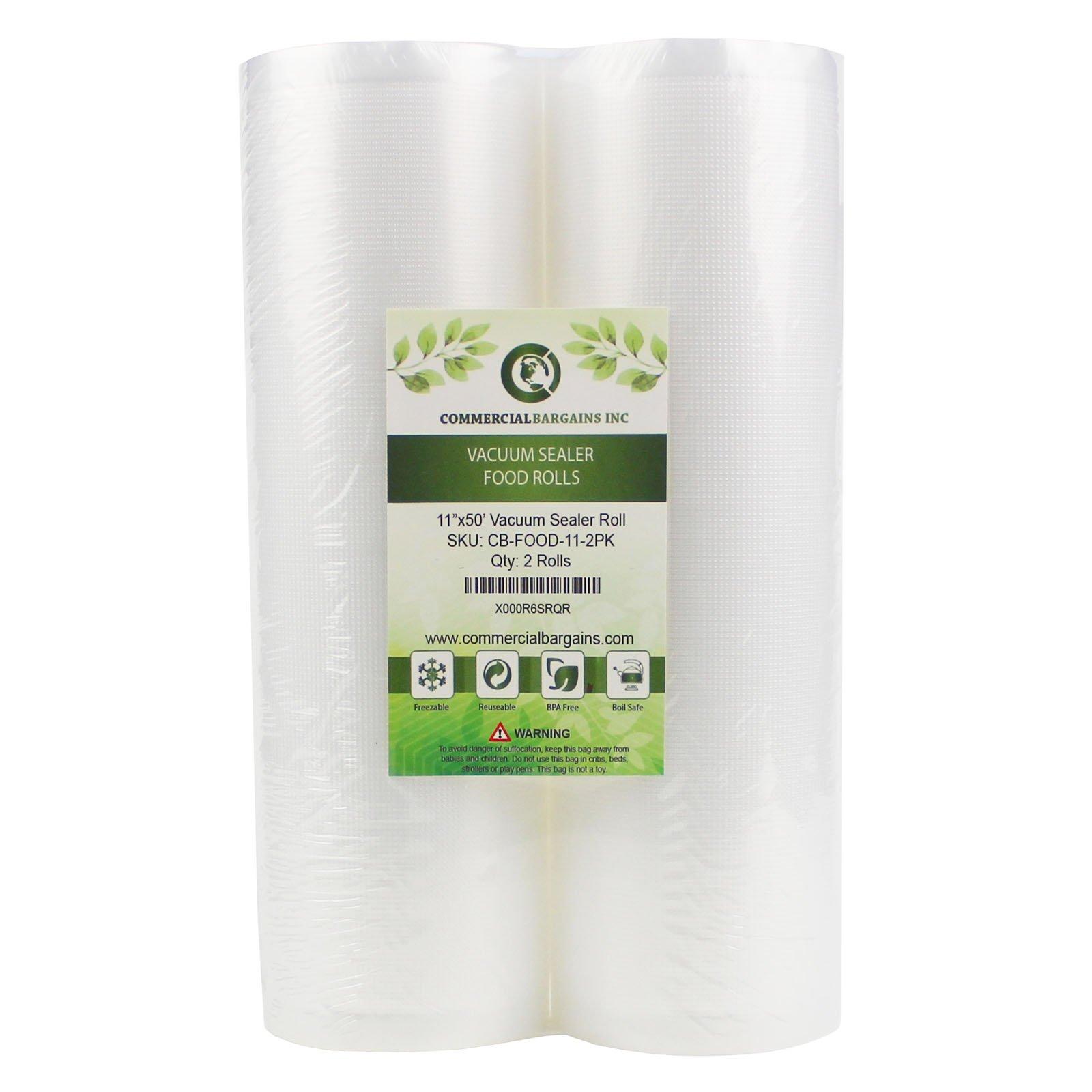 Commercial Bargains 2 Jumbo 11'' x 50' Commercial Vacuum Sealer Saver Bags Sous Vide Food Storage by Commercial Bargains (Image #2)