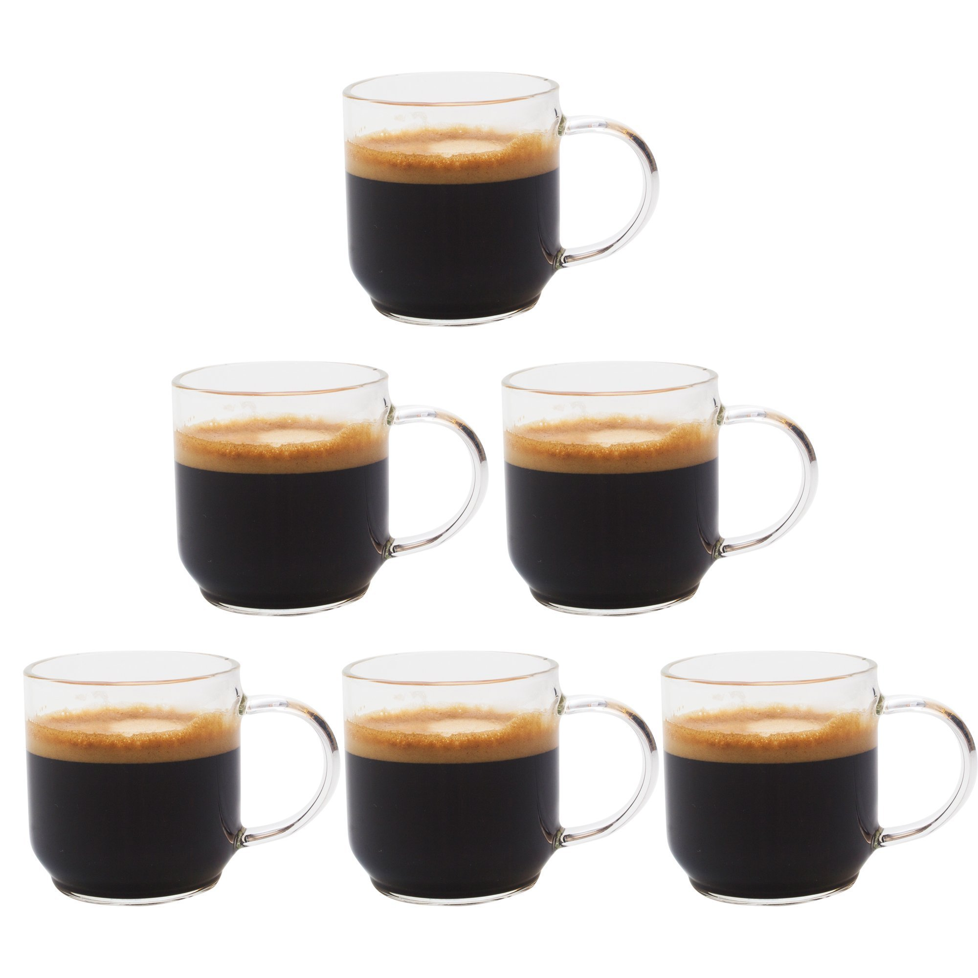 Zenco 4 oz (125ml) Coffee Glass Cups with Large Handle (Set of 6) - Perfect size for Nespresso Lungo, Single/Double Espresso, Juice or Sake