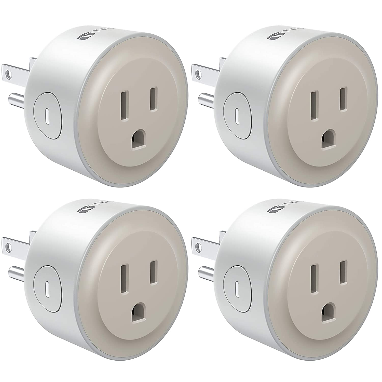 TECKIN Smart Plug, Smart Home Mini WiFi Outlet Works with Alexa, Echo&Google Home, Smart Outlet with Remote Control, Timer Function, No Hub Required, FCC/ETL Certified, Beige Outlet 4 Pack