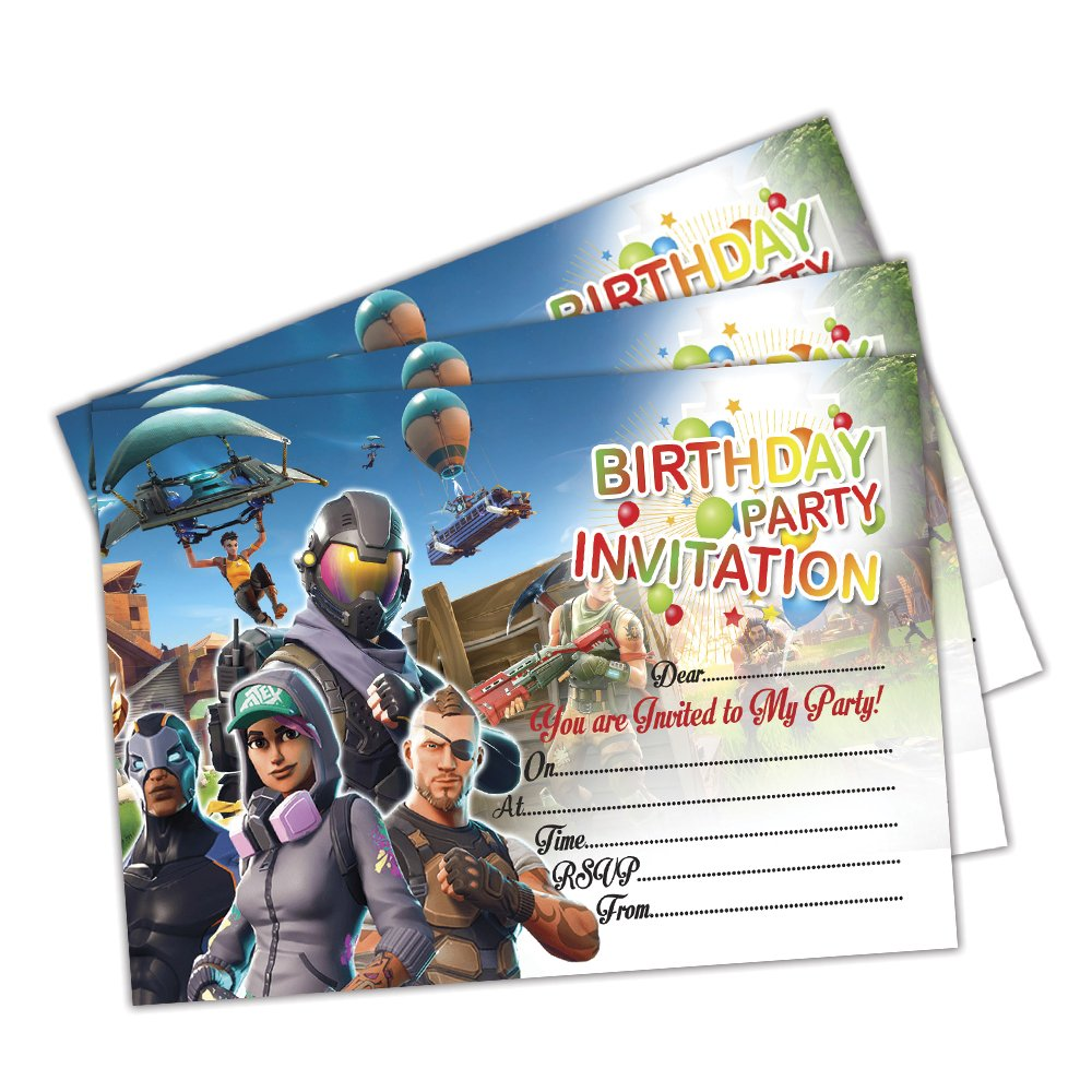 Fortnite Invitations | A6 Pack of 20 Cards | Party Invites | Kids Children Boys Girls | 200gsm Gloss Cards | with C6 Envelopes & Thank You Cards Options (Only Invites) Eli Belinde