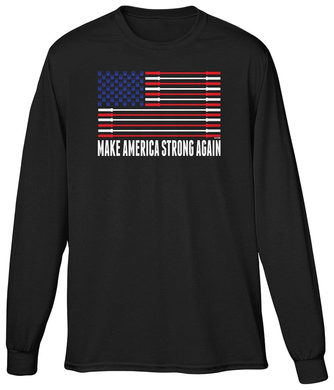 Blittzen Mens Long Sleeve T-shirt Make America Strong Again
