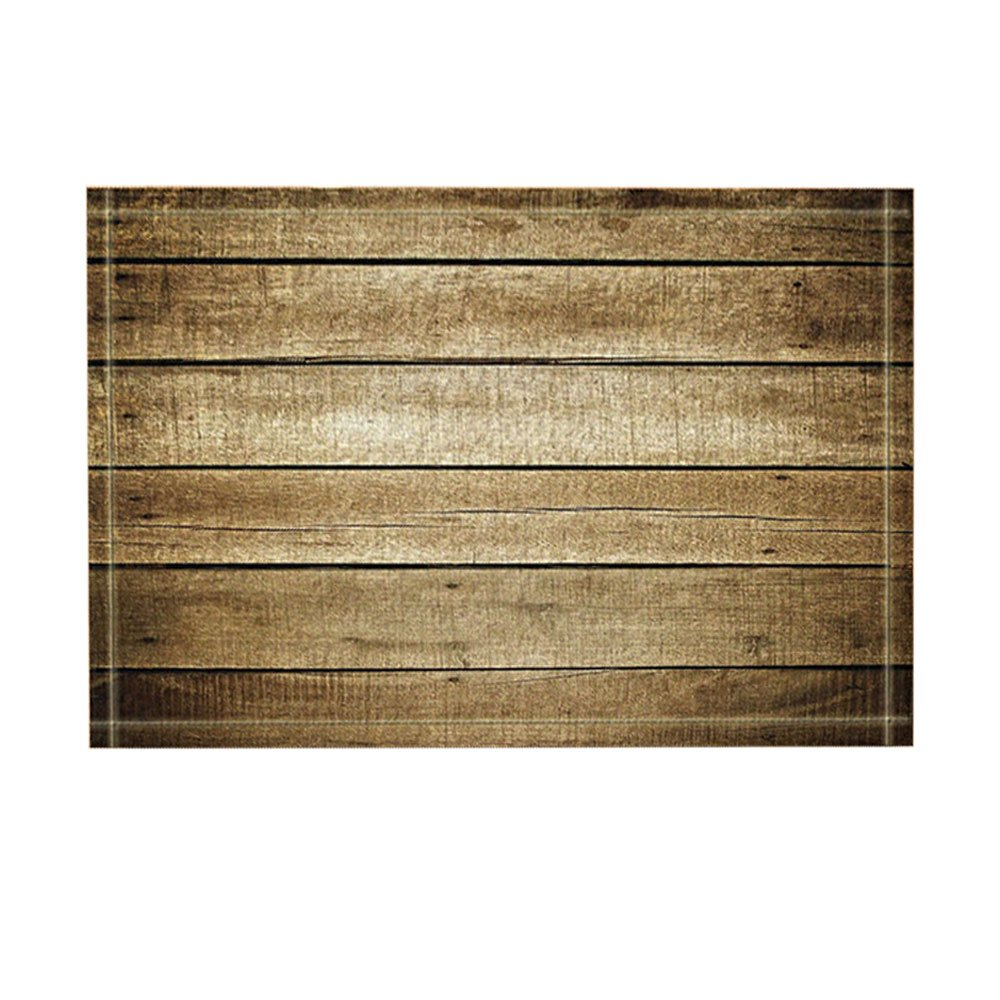 KOTOM Rustic Wood Planks Decor Bath Rugs, Non-Slip Doormat Floor Entryways Indoor Front Door Mat, Kids Bath Mat, 15.7x23.6in, Bathroom Accessories