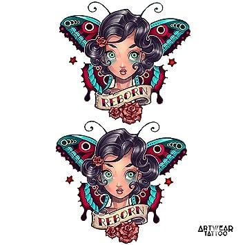 Amazoncom Temporary Tattoo Old School Butterfly Reborn Girl X2
