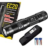 Nitecore EC20 960 Lumens 242 Yards Compact Cree XM-L2 LED Flashlight with 2x Tenergy CR123A Batteries and a Bonus Lumen Tactical Premium Holster - Use 2x CR123A or 1 x 18650