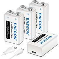 ENEGON 9V Direct USB Rechargeable Lithium-ion Battery with 2 in 1 Micro USB Cable for Micro Phone, Smoke Alarms…