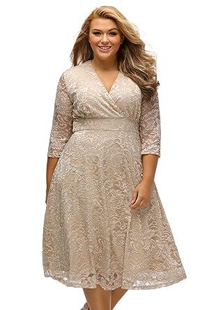 fdeab86e52 Plus Size Skater Dress - Sexy V Neck Surplice Lace Midi Dress at ...