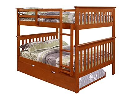 Amazon Com Bunk Bed Full Over Full With Trundle In Espresso