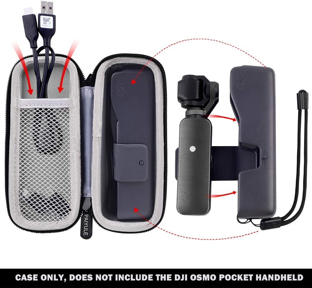 SSD Cards Camera and Accessories not Includes Case Compatible for DJI Osmo Pocket Handheld 3 Axis Gimbal Travel Storage Bag Holder fits for USB-C Charging Cable