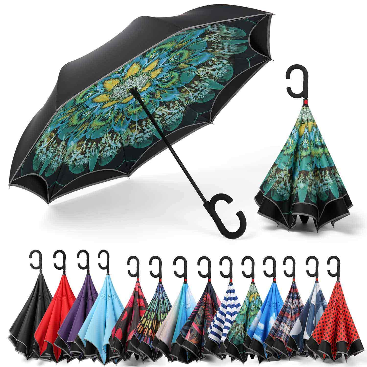 Siepasa Reverse Inverted Windproof and Anti-UV Umbrella Upside Down Umbrellas with D-Shaped Handle for Women and Men Double Layer Inside Out Folding Umbrella with Reflective Stripe