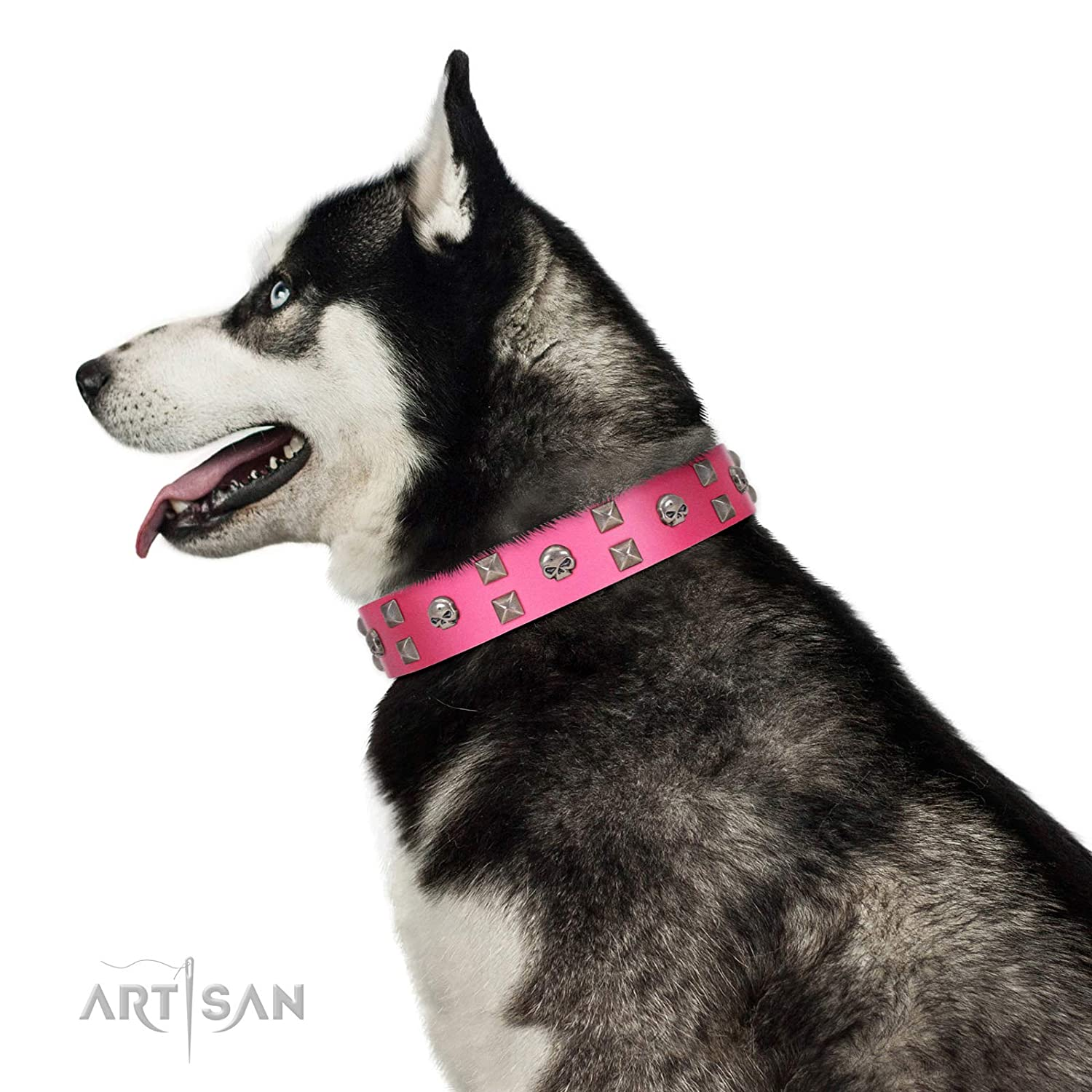 Fits for 35 inch (88cm) dog's neck size FDT Artisan 35 inch Designer Handmade Pink Leather Dog Collar Crystal Skulls 1 1 2 inch (40 mm) Wide Gift Box Included