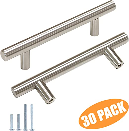 (30 Pack) Probrico 3 Inch Hole Centers Euro T Bar Cabinet Pulls Stainless Steel Kitchen Drawer Handles Satin Nickel Furniture Dresser Cabinet Hardware