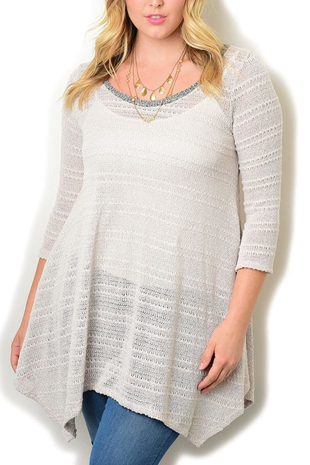 DHStyles Women's Plus Size Casual Sheer Sharktail Tunic Top