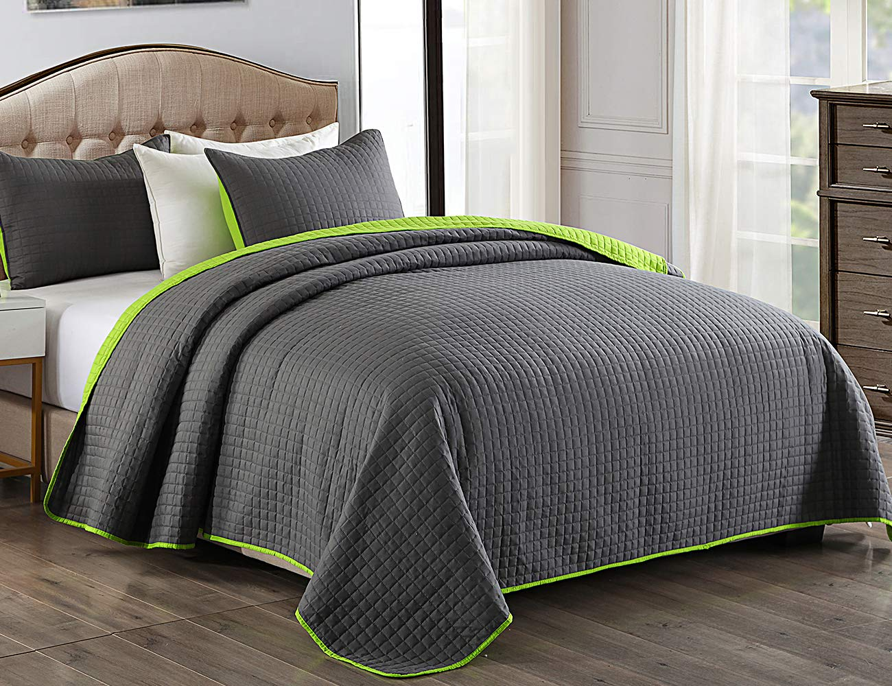 """JML Quilt Set, 3 Piece Bedspreads Queen Size - Reversible Plaid Design - Brushed Microfiber Coverlet Set for All Season, Soft Lightweight and Shrink Resistant (88""""x92"""", Charcoal Gray/Lime Green)"""