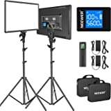 """Neewer 18"""" Led Video Light Panel Lighting Kit with Remote, 2-Pack 45W Dimmable Bi-Color +Light Stand, 3200K–5600K Soft Light"""