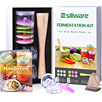 Easy Fermentation Kit for Wide Mouth Mason Jar, Includes 6 Silicone Waterless Airlock Lids, 6 Glass Weights, 1 Sauerkraut Pounder, Recipe Book, and Record Tags