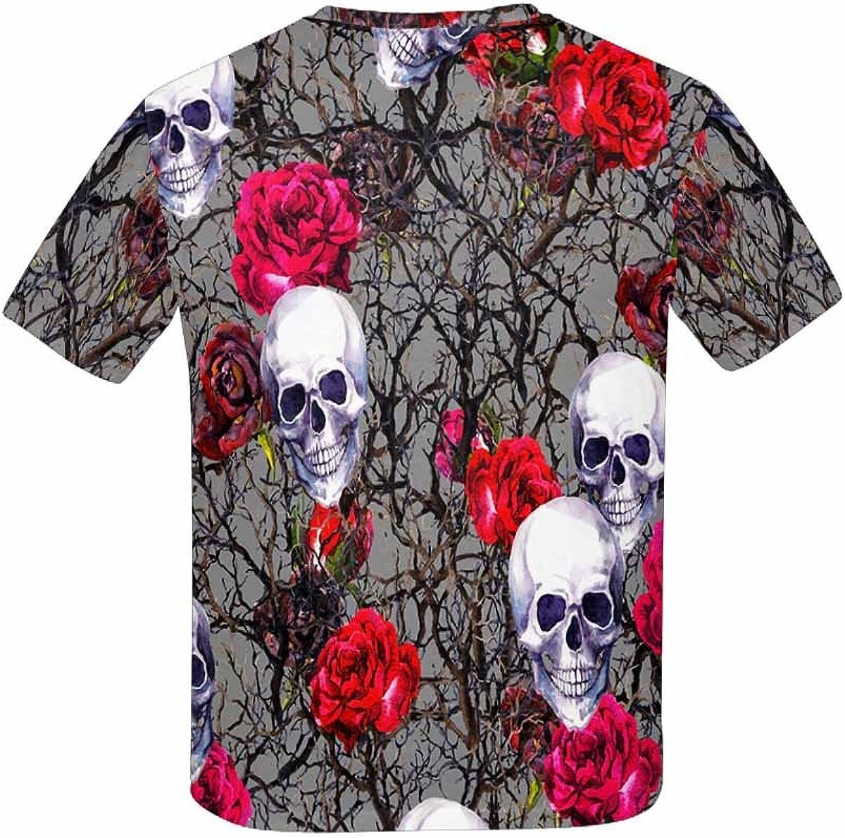 INTERESTPRINT Kids T-Shirts Skulls Rose Flowers and Branches Pattern XS-XL