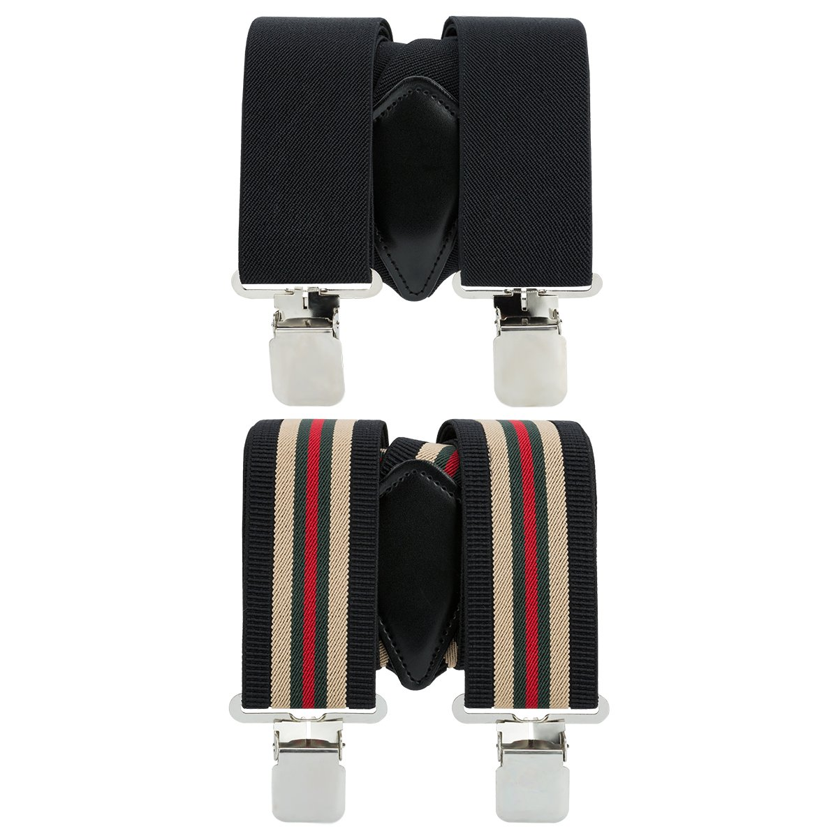 Mens X-Back Heavy Duty Work Suspenders 2'' Wide Adjustable Elastic Clip Suspenders 2pc(Black/Striped) by GradeCode (Image #5)