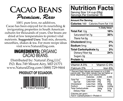 RAW Cacao Orgánico beans-16 OZS.: Amazon.com: Grocery ...