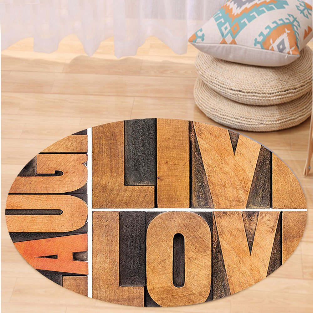 VROSELV Custom carpetLive Laugh Love Decor Macro Calligraphy Life Message Inspirational Digital Graphic for Bedroom Living Room Dorm Light Caramel Umber Round 72 inches