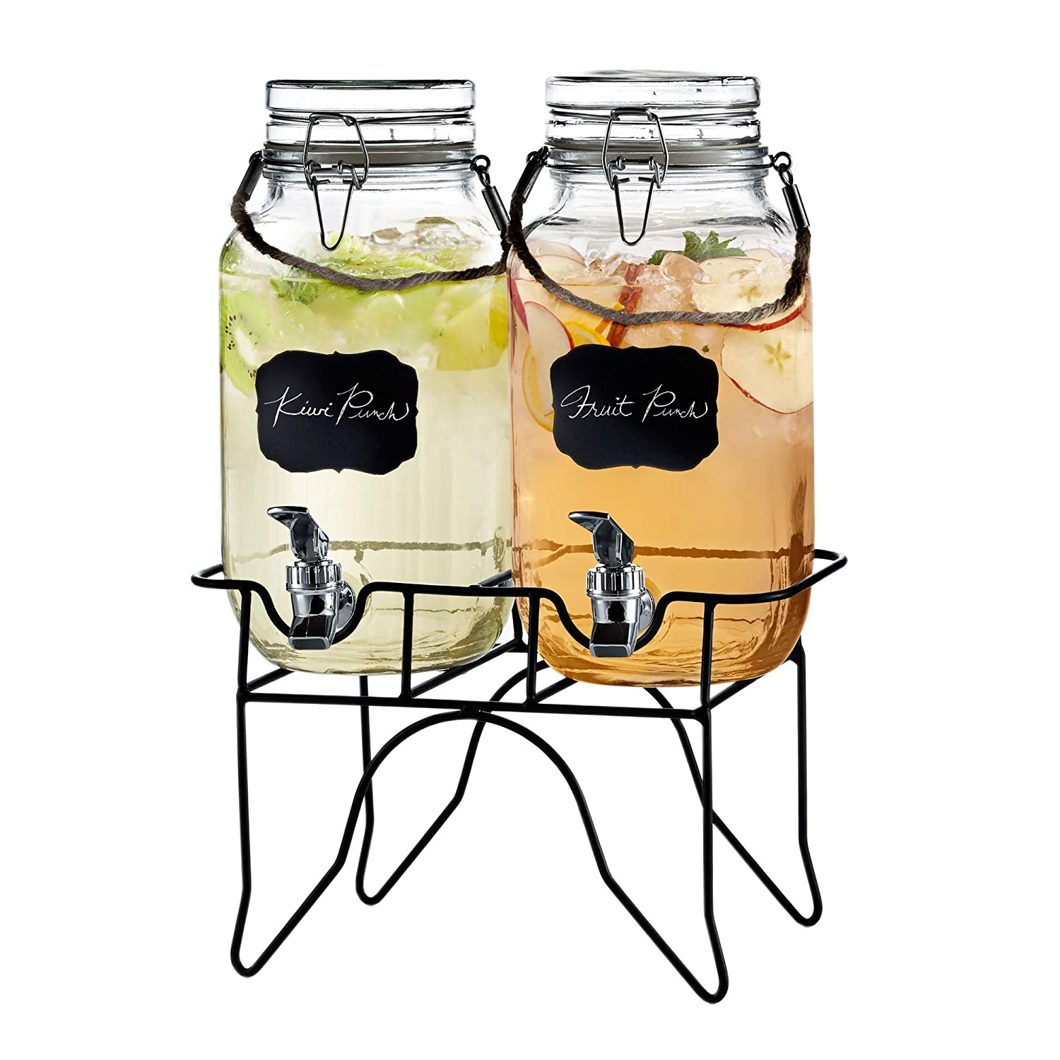 Style Setter Newcastle 210255-2GB 1 Gallon Each Glass Beverage Drink Dispenser Set with Metal Stand & Rope Handle, 14x10x17, Clear The Jay Companies