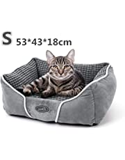 Pecute Plush Pet Bed for Cats Small Dogs,Soft Comfy Washable Cat Dog Bed with Removable Cushion(Grey,53 * 43 * 18cm)