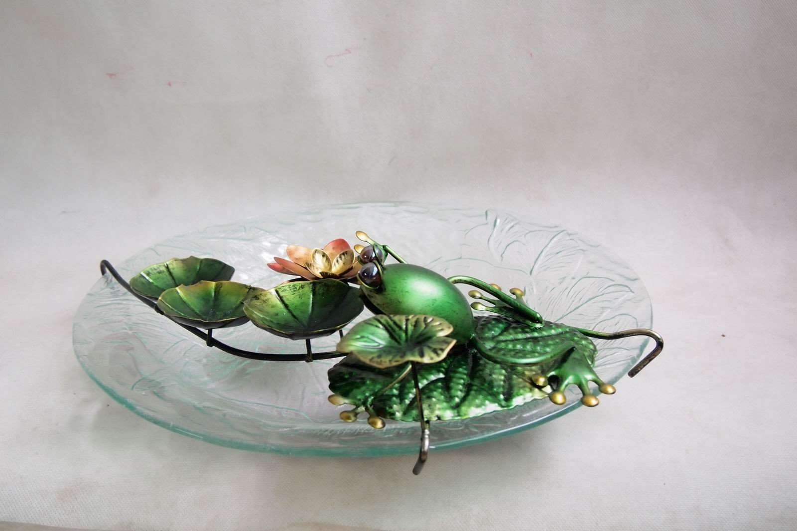 18'' Sunflower Glass Bowl and Frog Bird Bath Fountain and Stand Combo